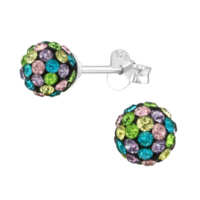 Silver Ball Ear Studs with Crystal