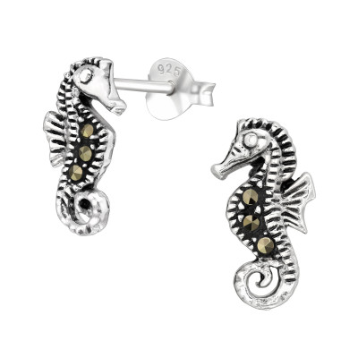 Silver Seahorse Ear Studs With Crystal