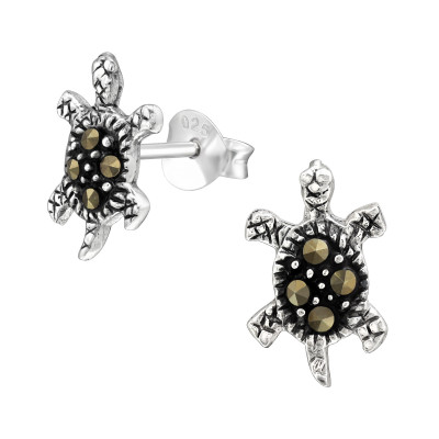 Silver Turtle Ear Studs with Crystal