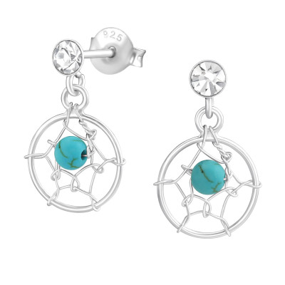 Silver Dreamcatcher Ear Studs with Crystal and Turquoise