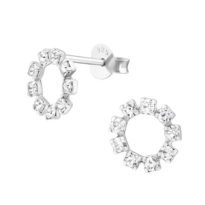 Silver Circle Ear Studs with Crystal