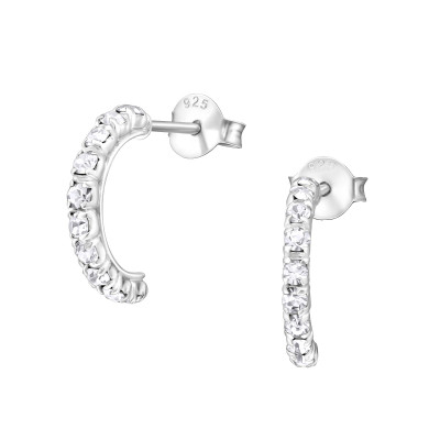 Silver Semi Hoops Ear Studs with Crystal