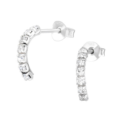 Semi Hoops Sterling Silver Ear Studs with Crystal