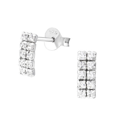 Silver Square Ear Studs with Crystal