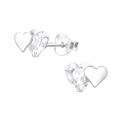 Silver Double Heart Ear Studs with Cubic Zirconia