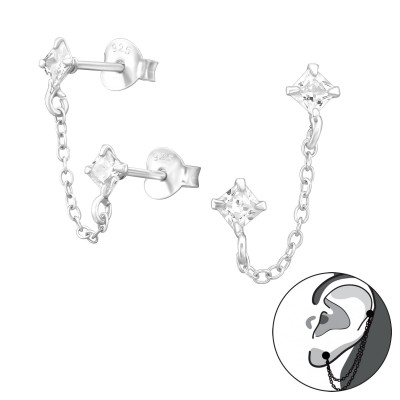 Silver Square Ear Studs with Hanging Chain and Cubic Zirconia