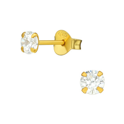 Silver Round 4mm Ear Studs with Cubic Zirconia