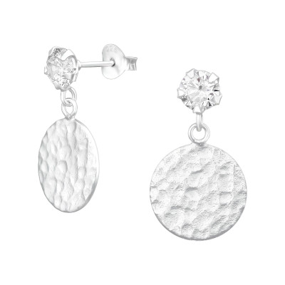 Silver Ear Stud Hanging Round and Cubic Zirconia
