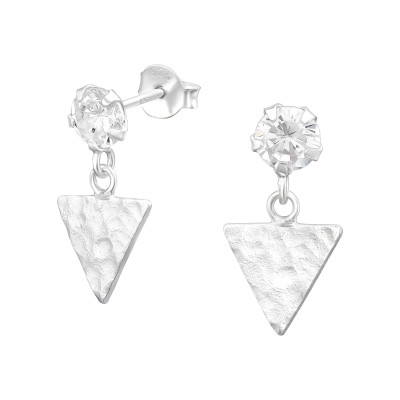 Silver Ear Stud Hanging Triangle and Cubic Zirconia