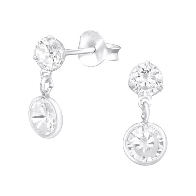 Silver Round Ear Studs with Hanging Round and Cubic Zirconia