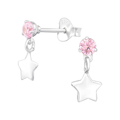 Silver Ear Studs with Hanging Star and Cubic Zirconia