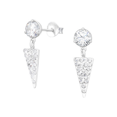 Silver Round Cubic Zirconia Ear Studs with Hanging Triangle and Crystal