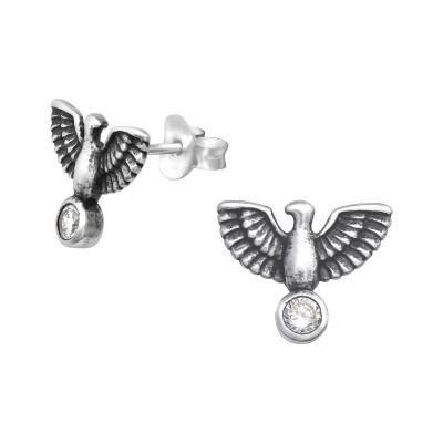 Silver Eagle Ear Studs with Cubic Zirconia