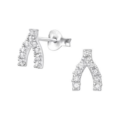 Silver Wishbone Ear Studs with Cubic Zirconia