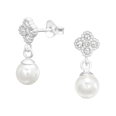 Silver Flower Ear Studs with Cubic Zirconia and Hanging Synthetic Pearl