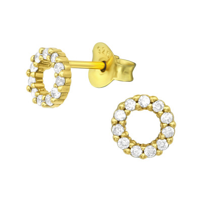 Silver Circle Ear Studs with Cubic Zirconia