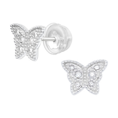 Premium Children's Silver Butterfly Ear Studs with Cubic Zirconia