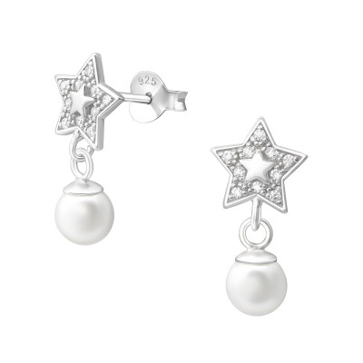 Silver Star Ear Studs with Hanging Synthetic Pearl and Cubic Zirconia