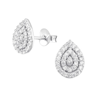 Silver Pear Ear Studs with Cubic Zirconia