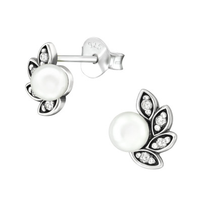 Silver Antique Ear Studs with Cubic Zirconia and Snythetic Pearl