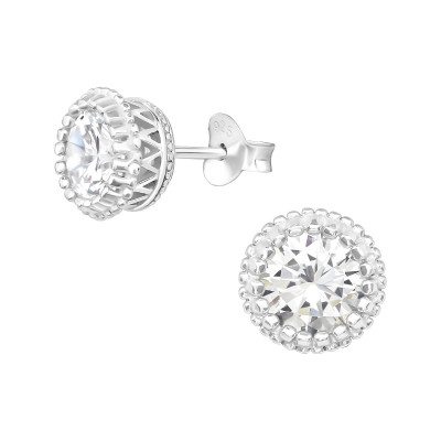 Silver Sparkling Ear Studs with Cubic Zirconia