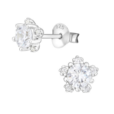 Silver Flower Ear Studs with Cubic Zirconia