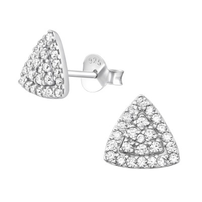 Silver Triangle Ear Studs with Cubic Zirconia