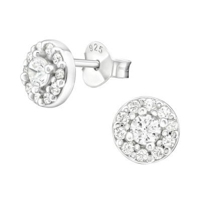 Silver Round Ear Studs with Cubic Zirconia