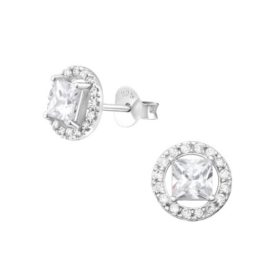 Silver Geometric Ear Studs with Cubic Zirconia
