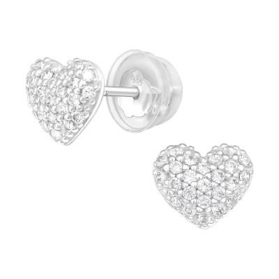 Premium Children's Silver Heart Ear Studs with Cubic Zirconia