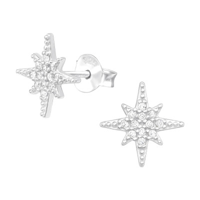 Silver Northern Star Ear Studs with Cubic Zirconia