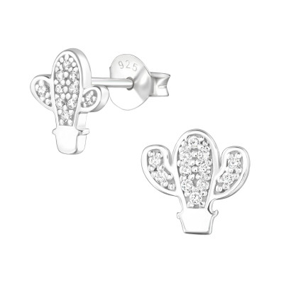 Silver Cactus Ear Studs with Cubic Zirconia