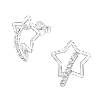 Silver Star Ear Studs with Cubic Zirconia