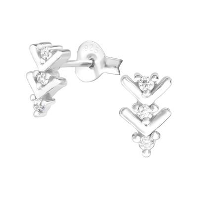 Silver Arrow Ear Studs with Cubic Zirconia