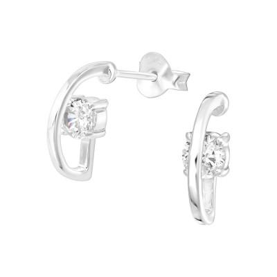 Silver Half Hoop Ear Studs with Cubic Zirconia
