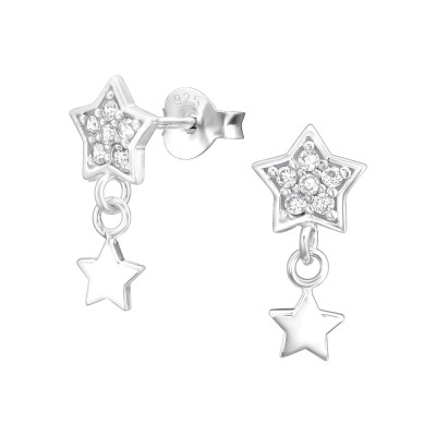 Silver Star Ear Studs with Hanging Star and Cubic Zirconia