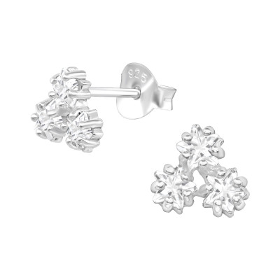 Silver Triple Star Ear Studs with Cubic Zirconia