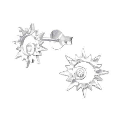 Silver Sun Ear Studs with Cubic Zirconia