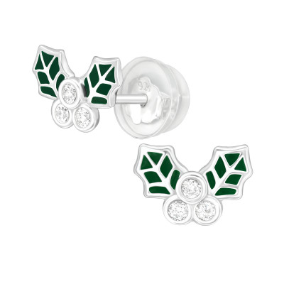 Premium Children's Silver Holly Leaf Ear Studs with Cubic Zirconia and Epoxy