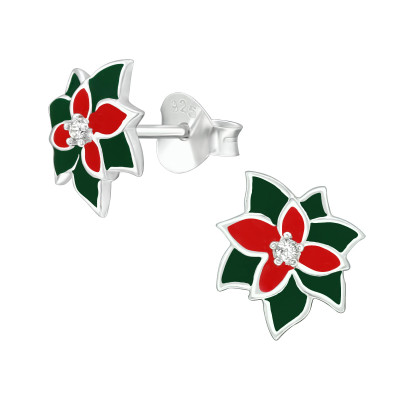 Silver Holly Ear Studs with Cubic Zirconia and Epoxy