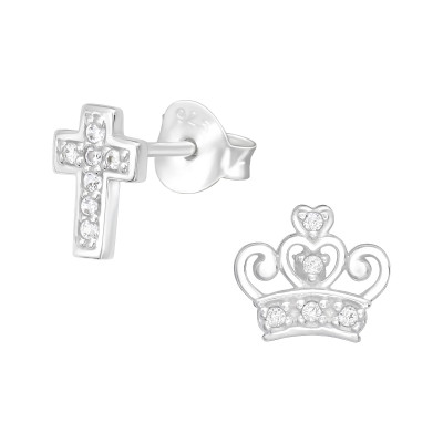 Silver Cross and Crown Ear Studs with Cubic Zirconia