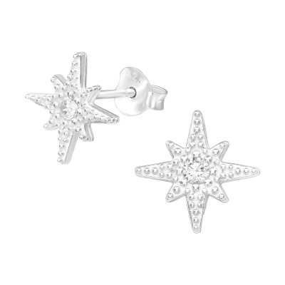 Silver Northern Stat Ear Studs with Cubic Zirconia