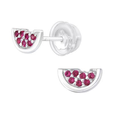 Premium Children's Silver Watermelon Ear Studs with Cubic Zirconia