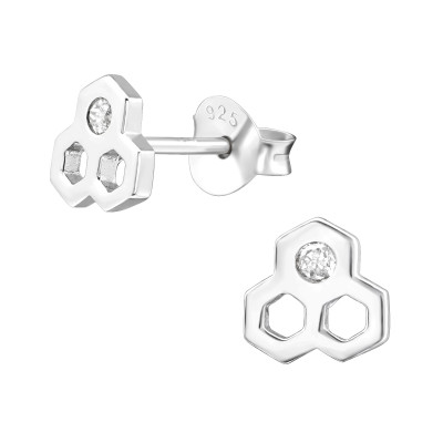 Silver Honeycomb Ear Studs with Cubic Zirconia