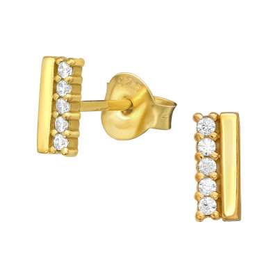 Silver Bar Ear Studs with Cubic Zirconia