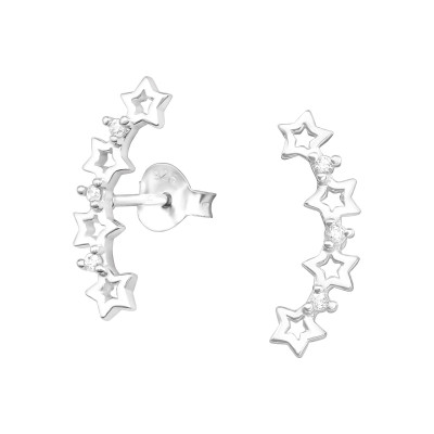Silver Stars Ear Studs with Cubic Zirconia