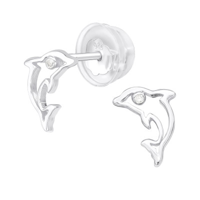 Premium Children's Silver Dolphin Ear Studs with Cubic Zirconia