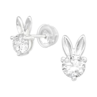 Premium Children's Silver Rabbit Ear Studs with Cubic Zirconia