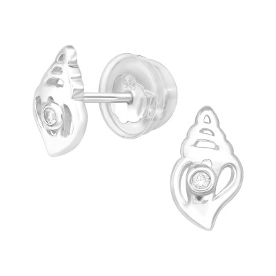 Premium Children's Silver Conch Ear Studs with Cubic Zirconia