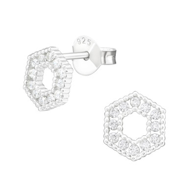 Silver Hexagon Ear Studs with Cubic Zirconia